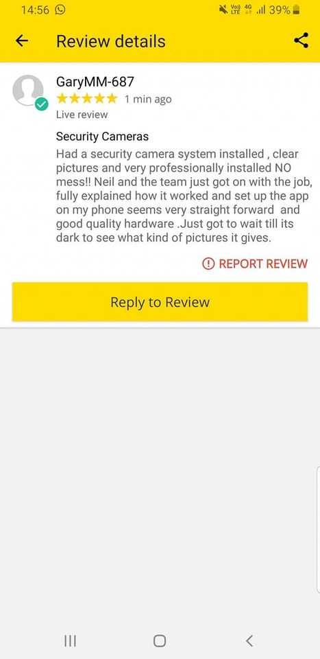 Excellent customer feedback for a recent domestic security camera system